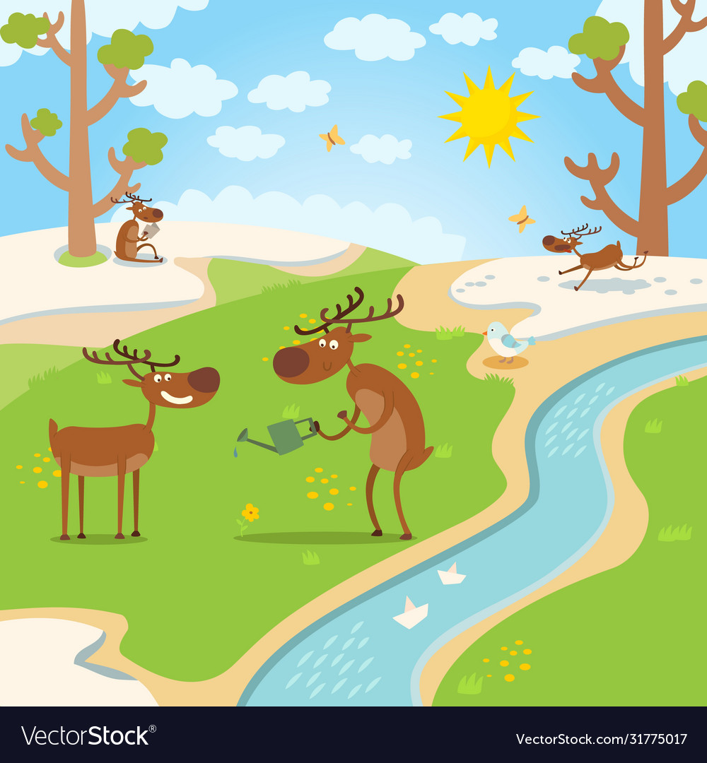 Deers happy for spring thaw in forest