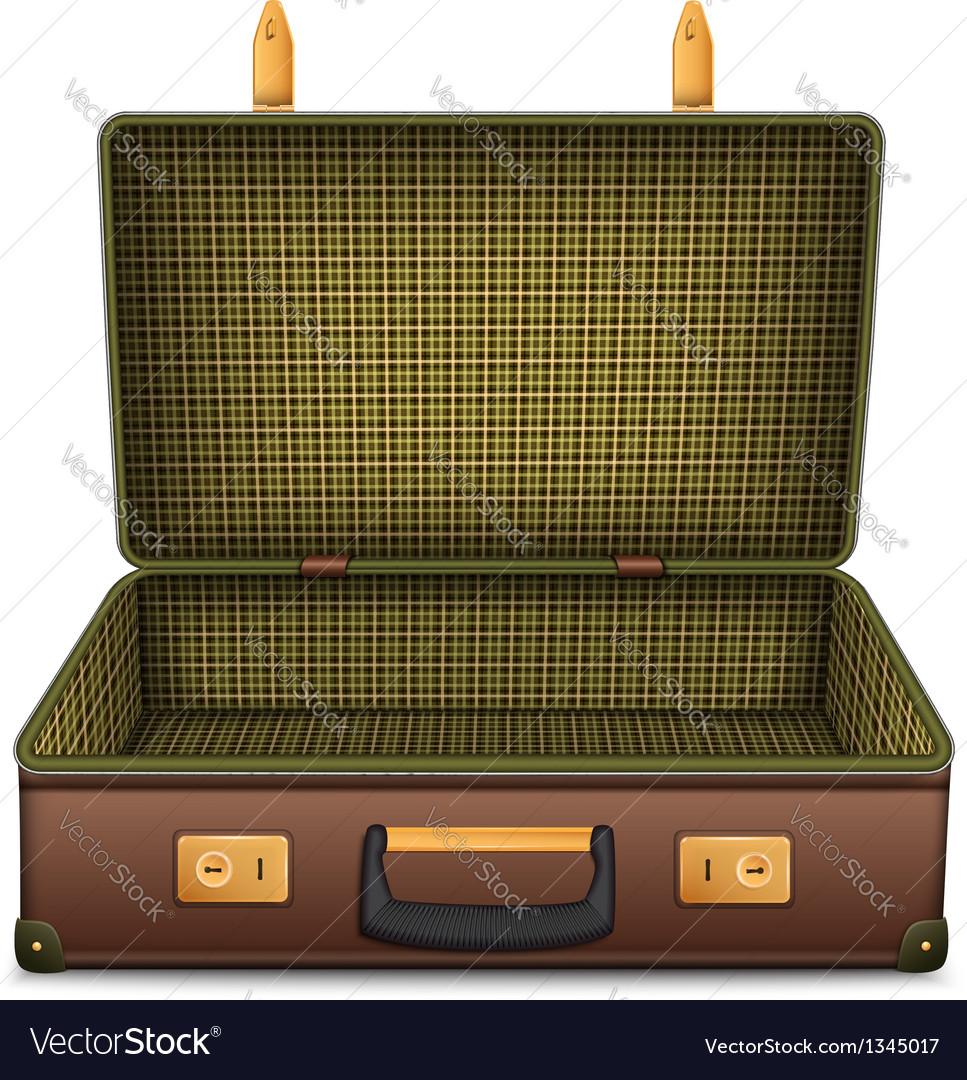 Empty retro suitcase isolated on white
