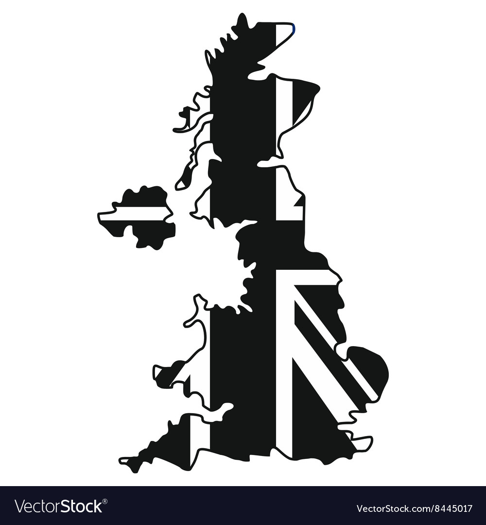 Map of UK of the national flag icon simple style
