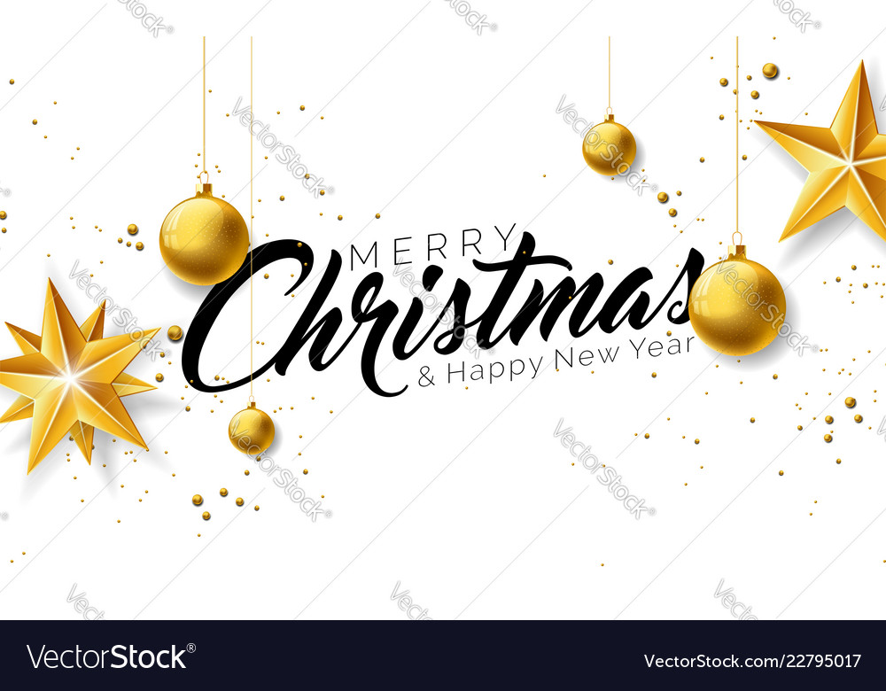 Merry christmas with gold glass ball