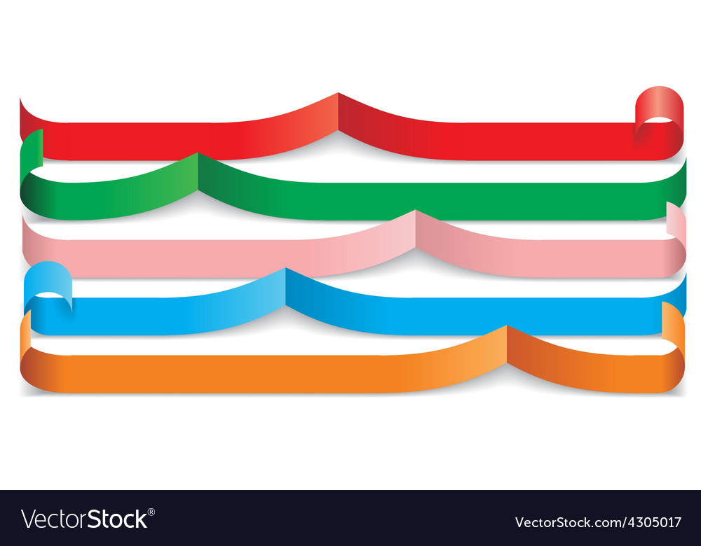 Set of different paper ribbons