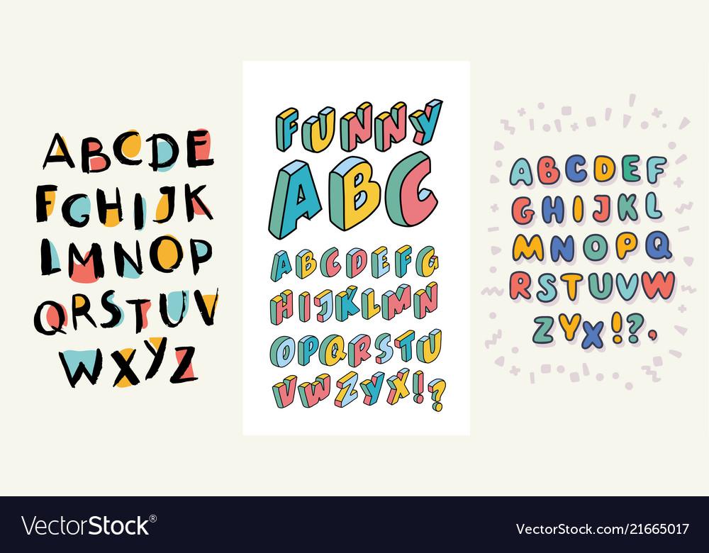 Set of hand drawn alphabets three english abc