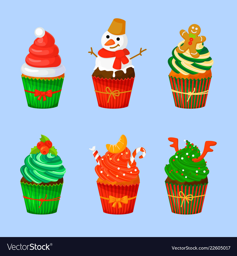 Set of sweet christmas and new year cupcakes