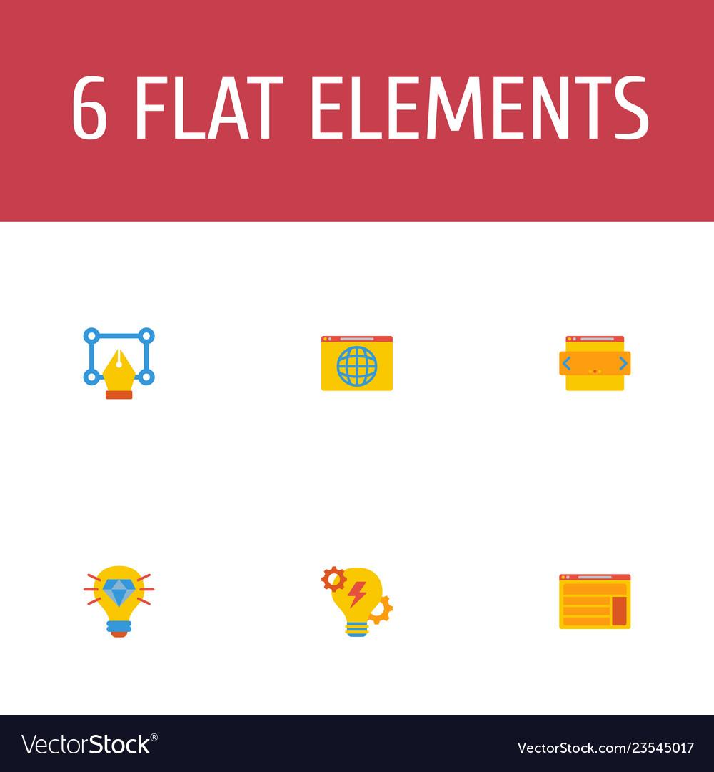 Set of wd icons flat style symbols with web