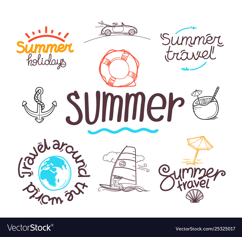 Summer travel doodle style elements labels