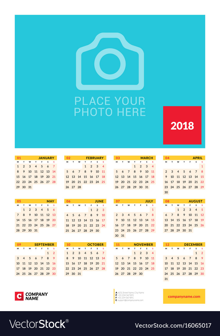 wall yearly calendar poster for 2018 year design vector image