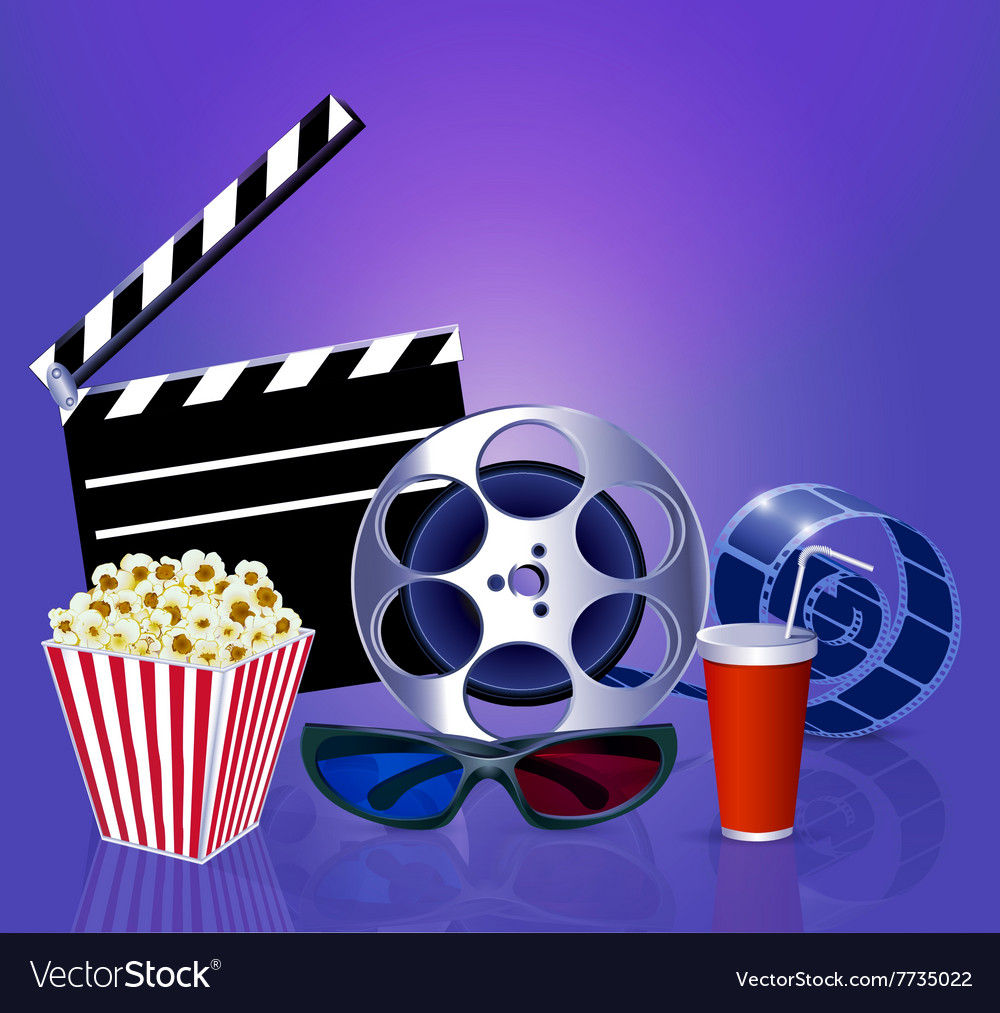 Background While A Movie With Popcorn Glasses Film