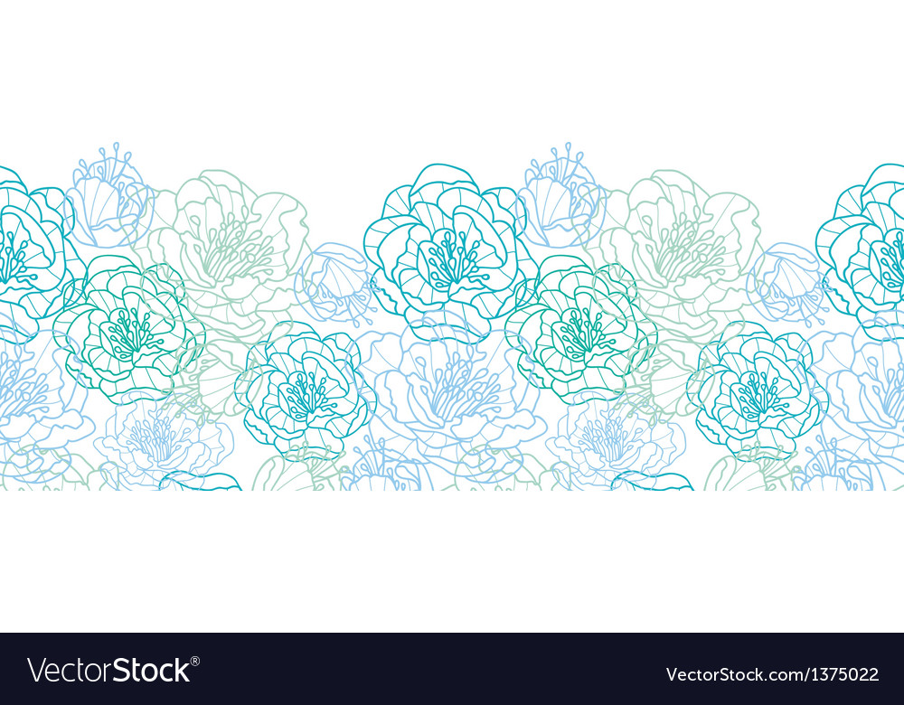 Blue line art flowers horizontal seamless pattern vector image