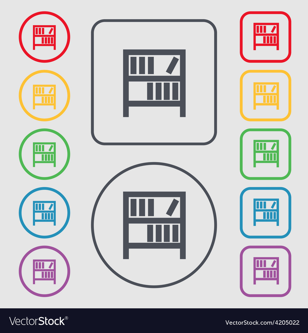 Bookshelf Icon Sign Symbol On The Round And Square Vector Image