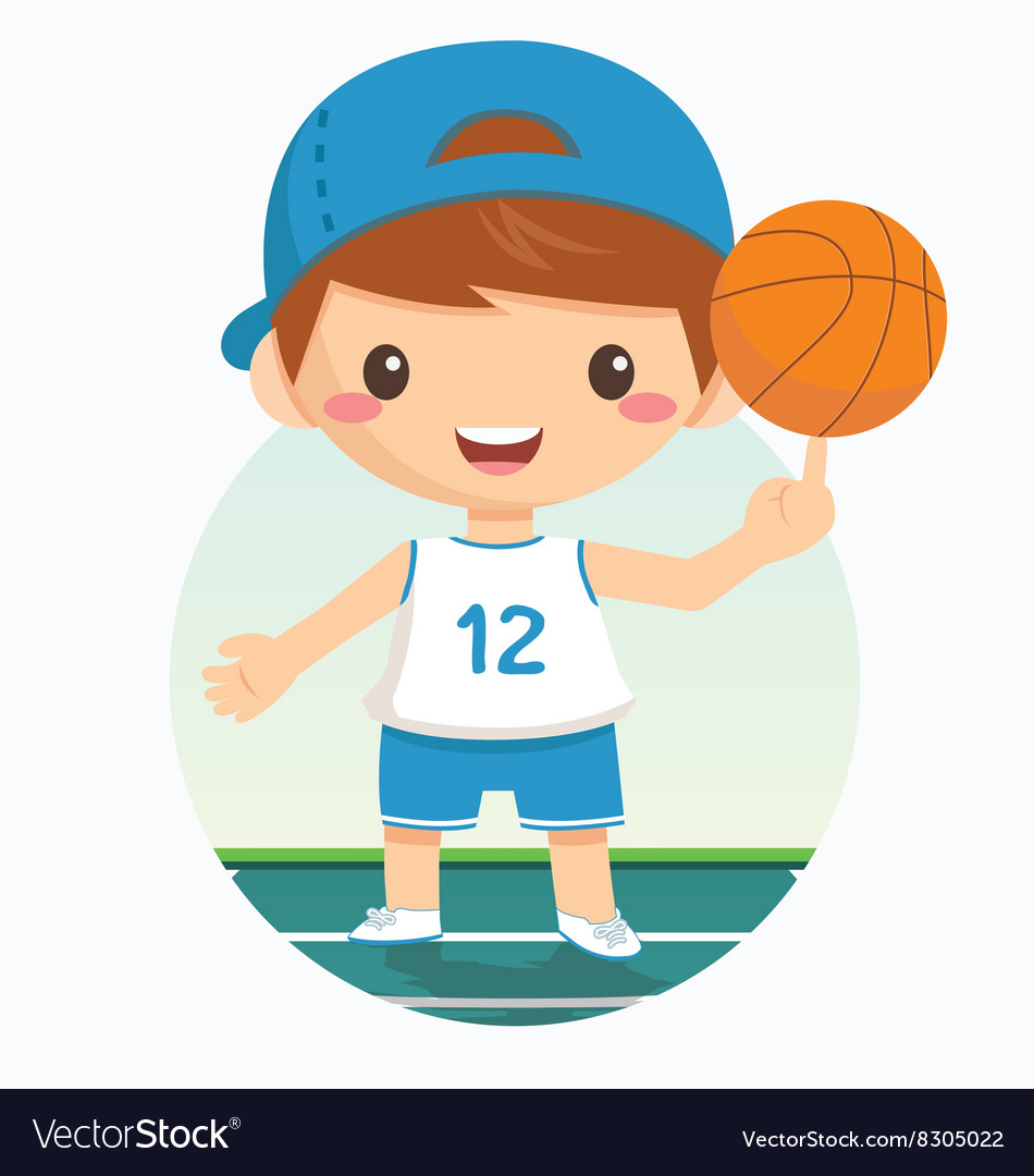 Cartoon of basketball boy