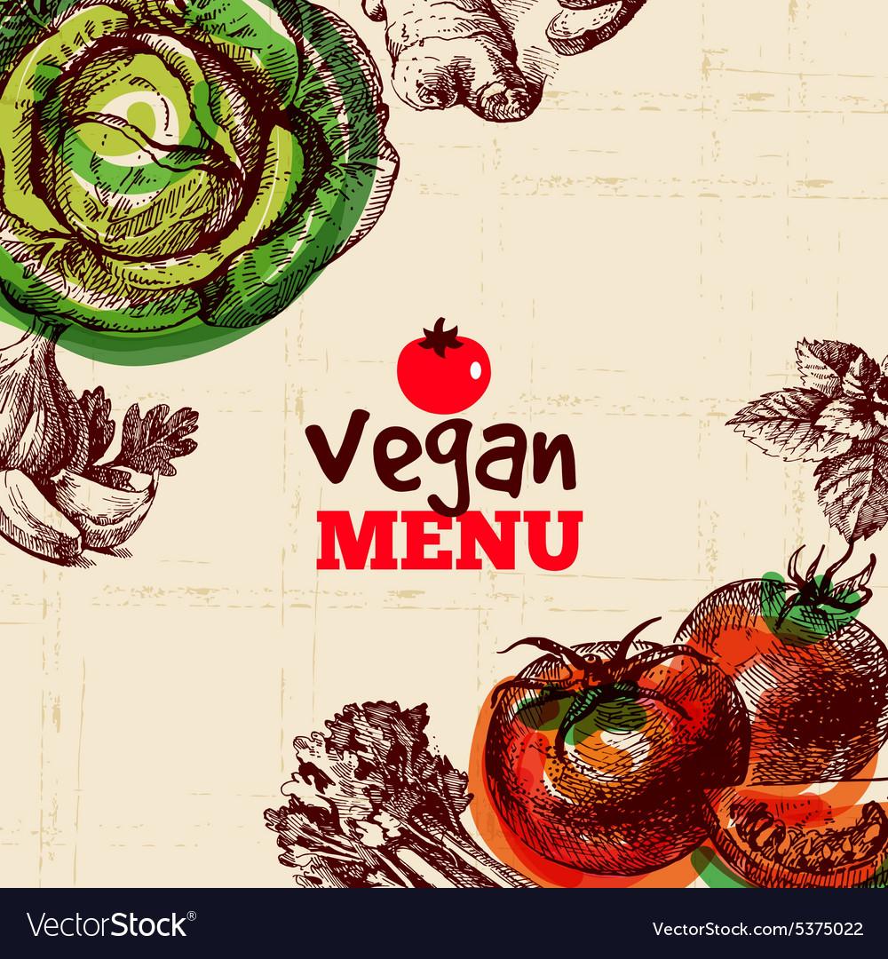 Eco food vegan menu background Watercolor and vector image