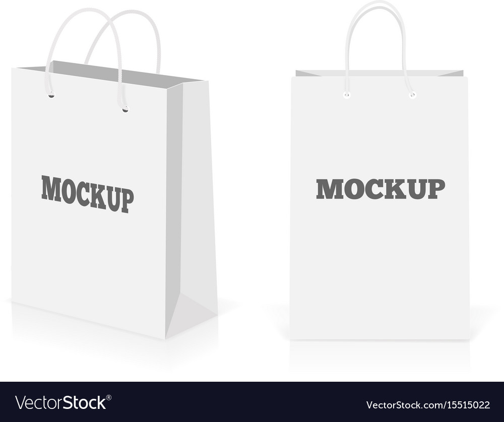 Empty shopping bags set isolated on white