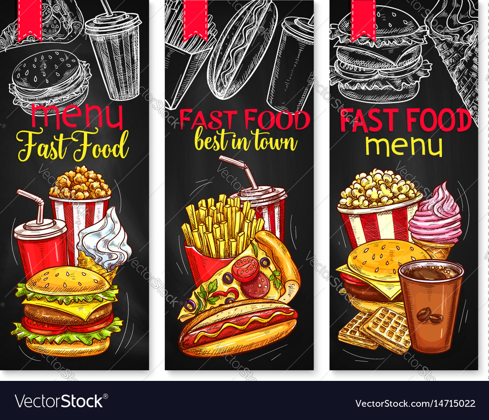 Menu price banners for fast food meals