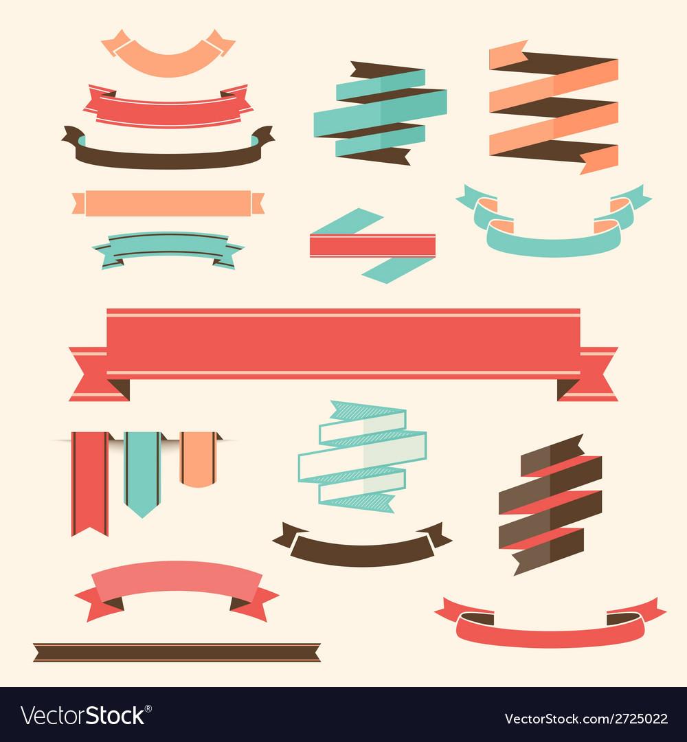 Ribbon Banner Set design elements vector image