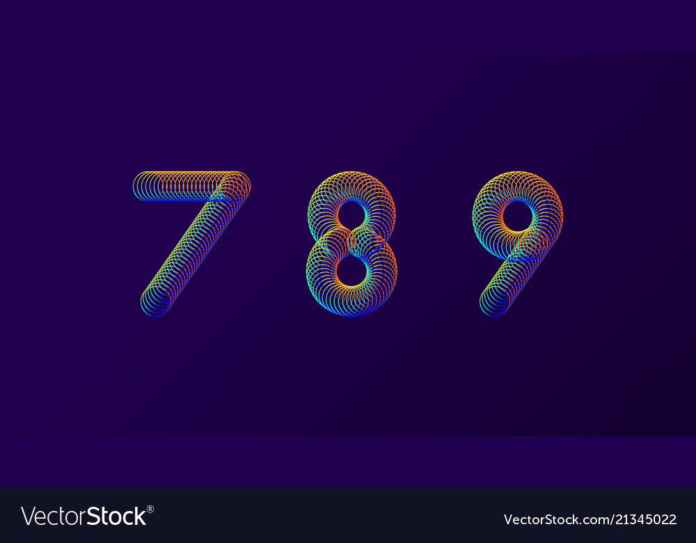 Set of colorful modern abstract numbers creative