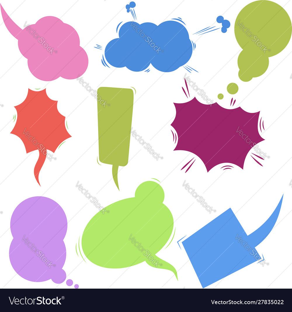 Set retro comic empty colored speech bubbles