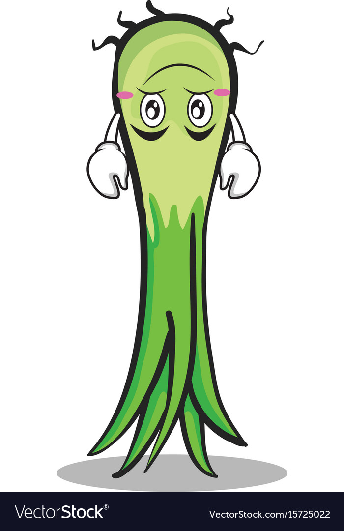 Upside down leek character cartoon