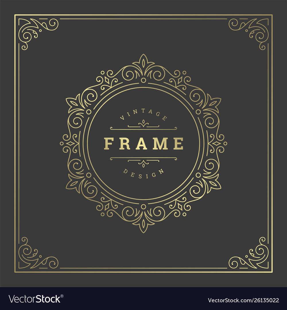 Vintage flourishes ornament swirls lines frame