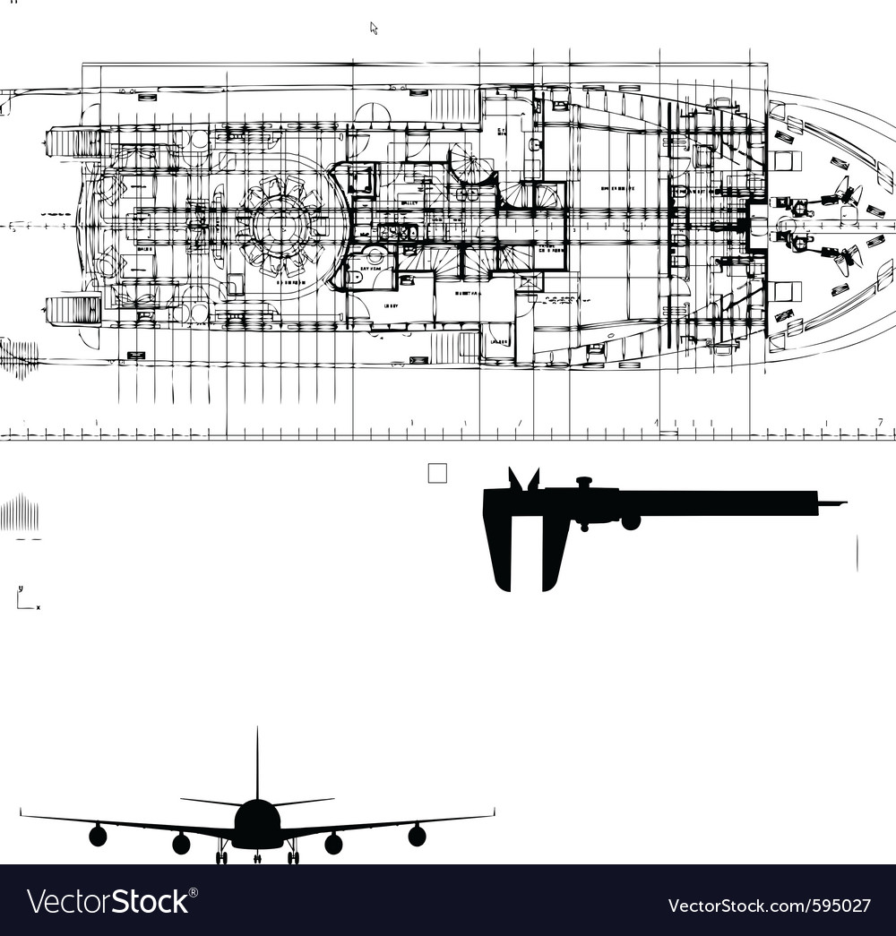Abstract yacht drawing vector image
