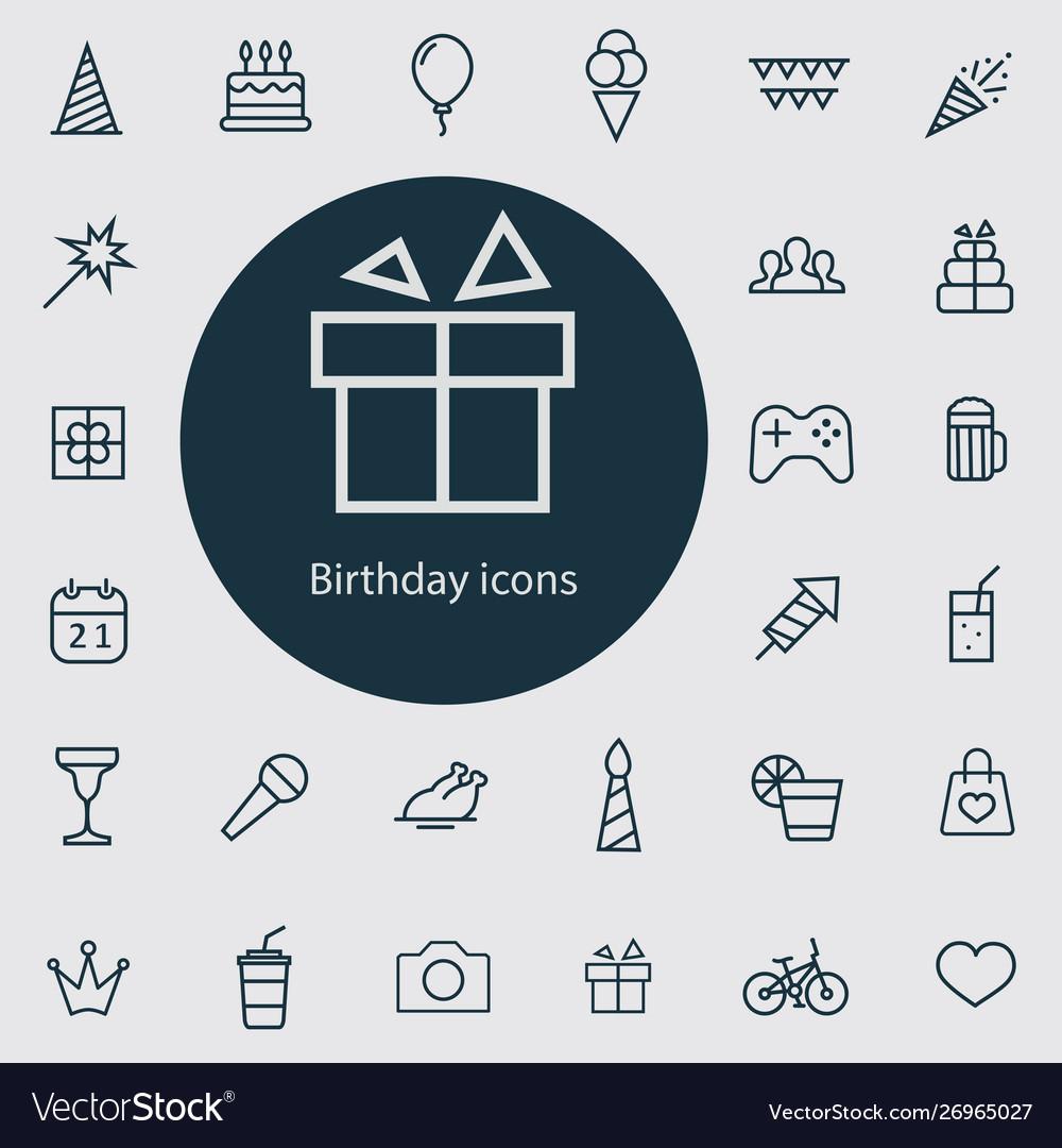 Birthday outline thin flat digital icon set