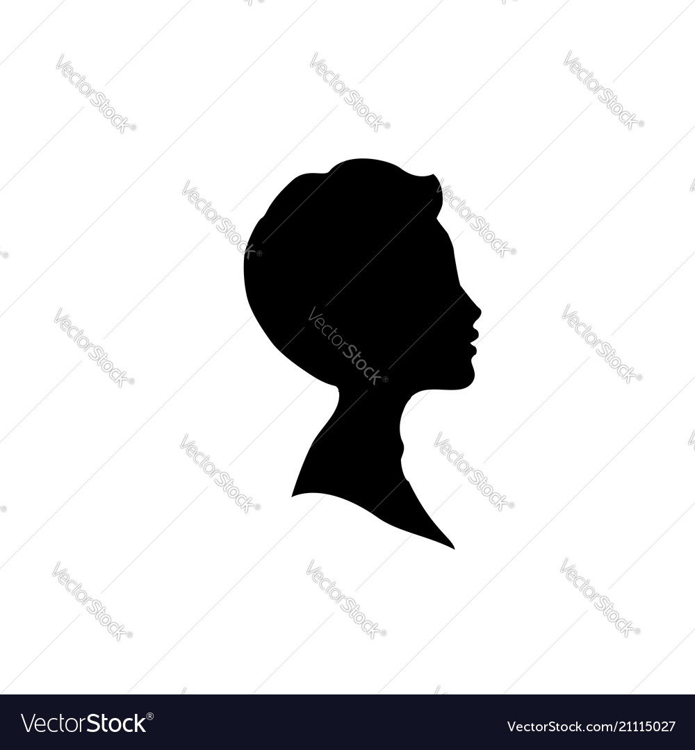 Black profile silhouette of young boy or man head