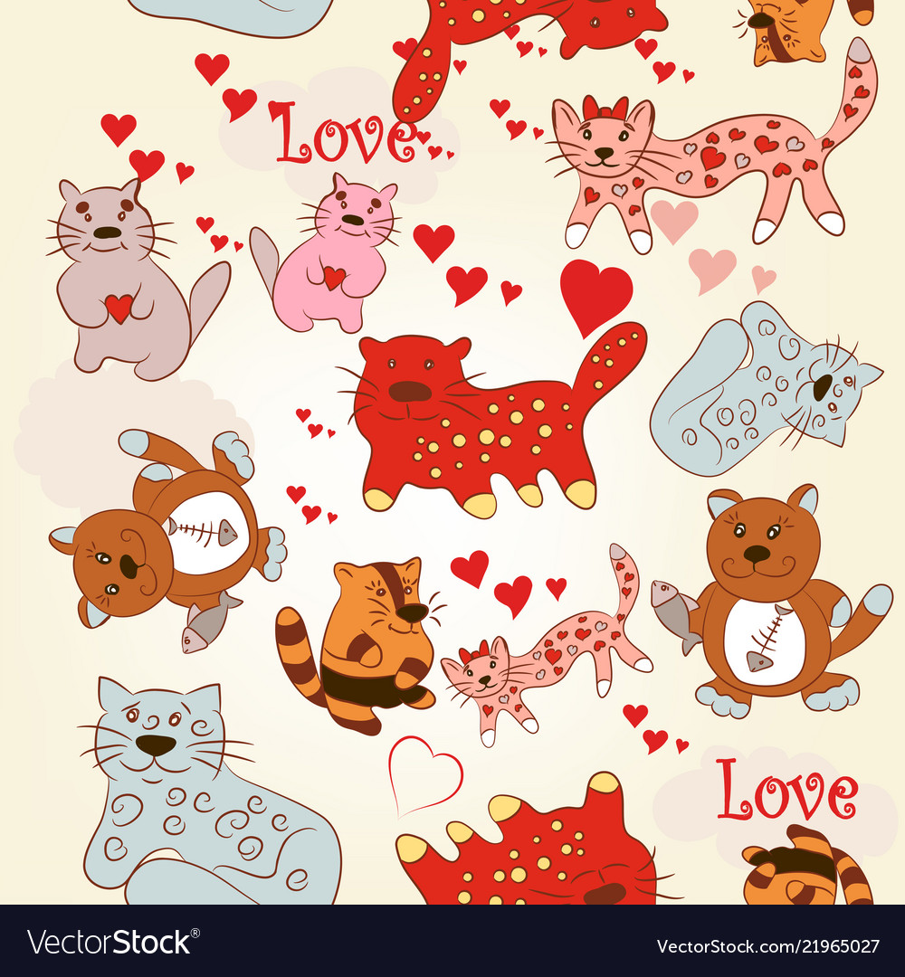 Childish seamless wallpaper pattern with cute cats