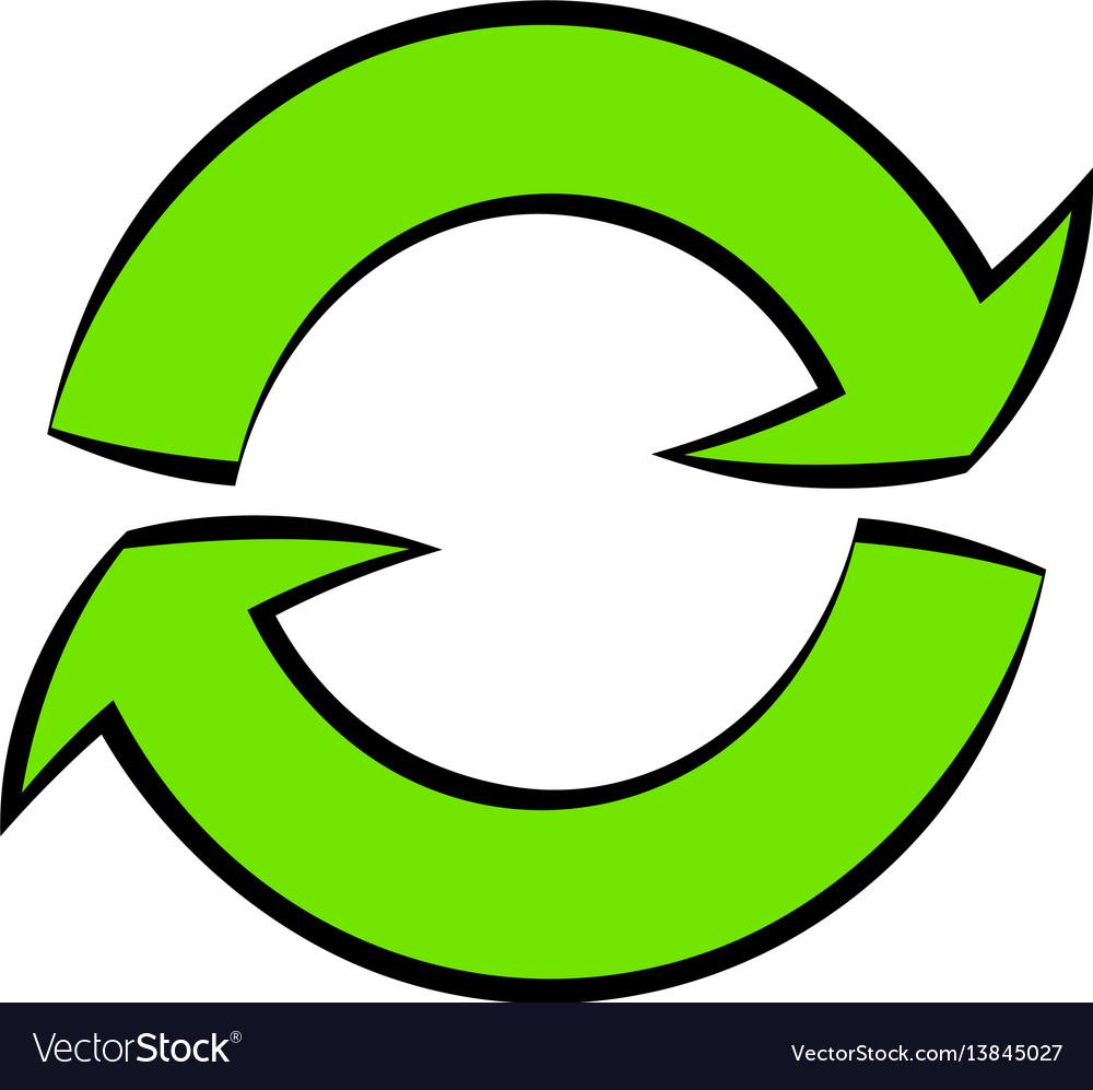 Green circular arrows icon cartoon vector image