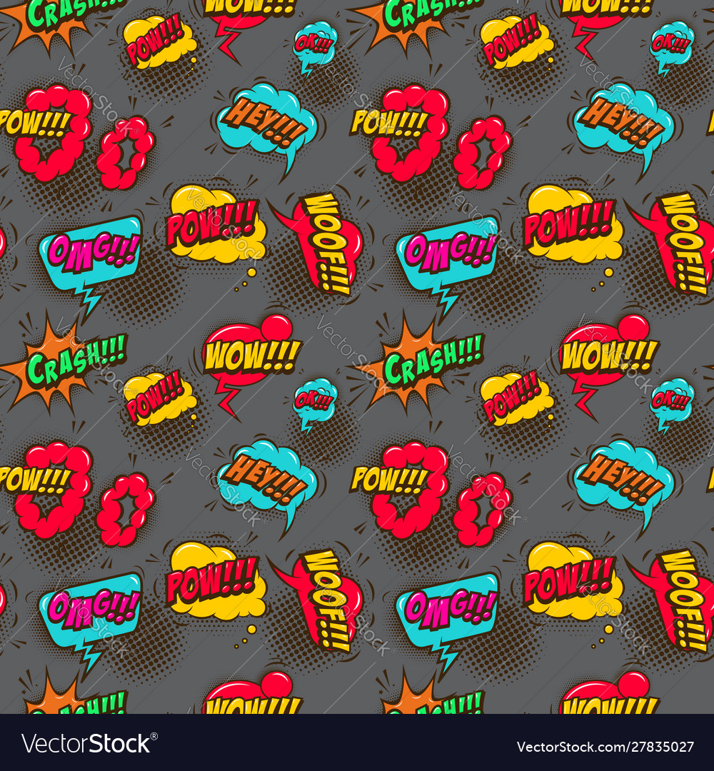 Seamless pattern with comic style speech clouds