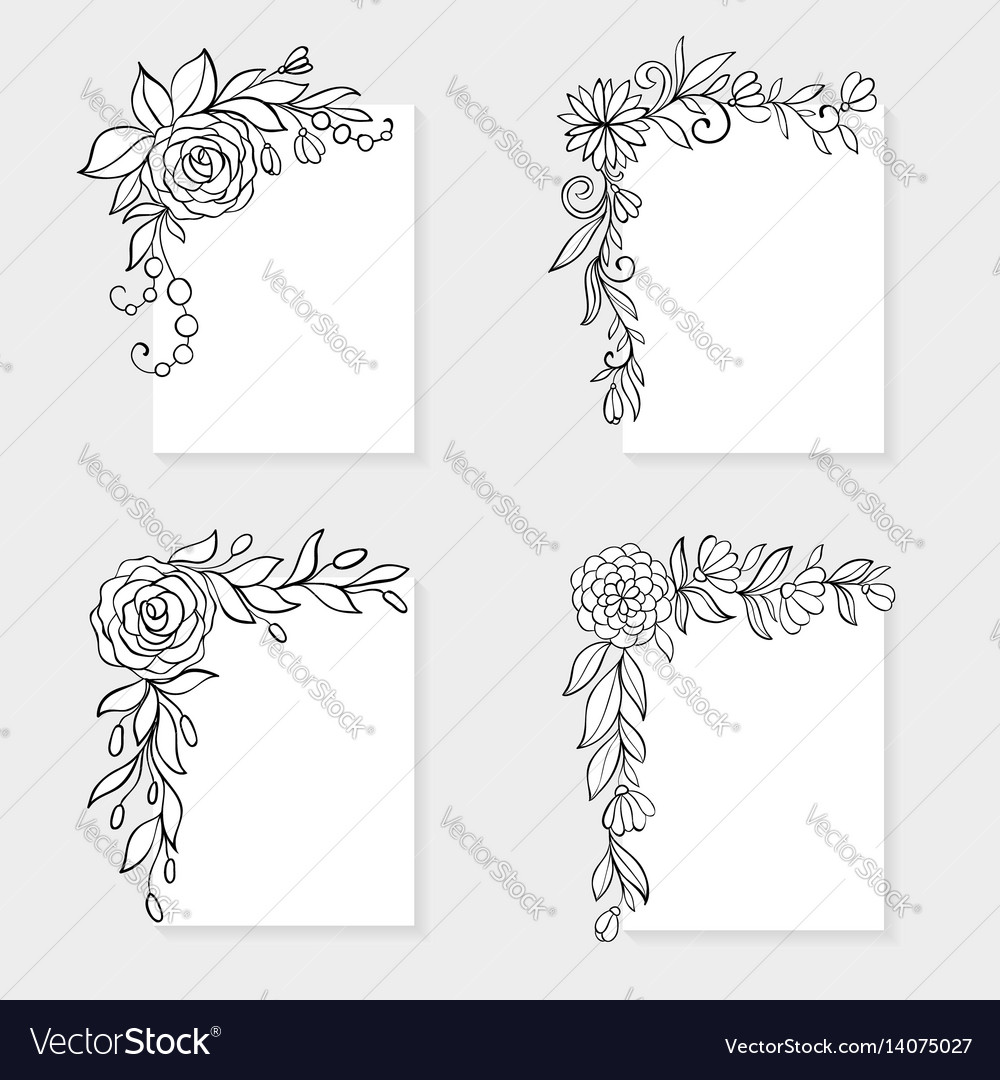 Set of black and white hand drawn corner floral vector image