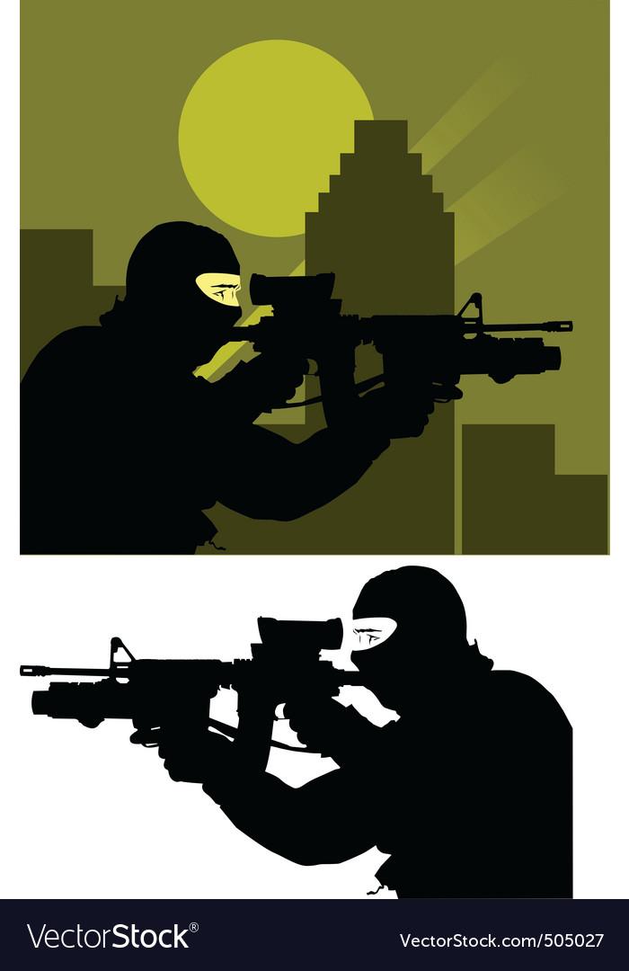 Sniper police vector image