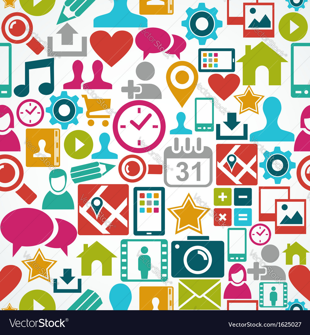 Social media network icons seamless pattern vector image