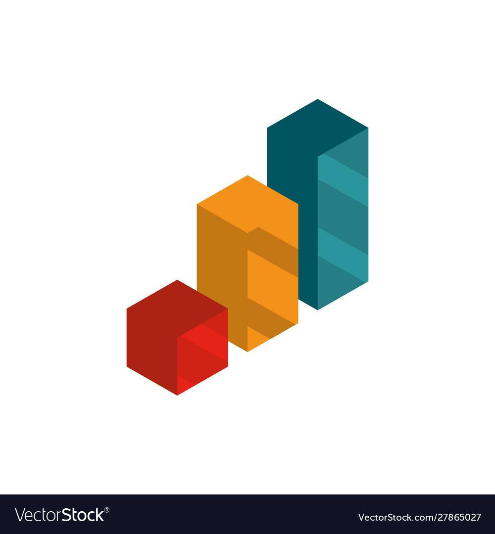 Statistics report social media isometric icon