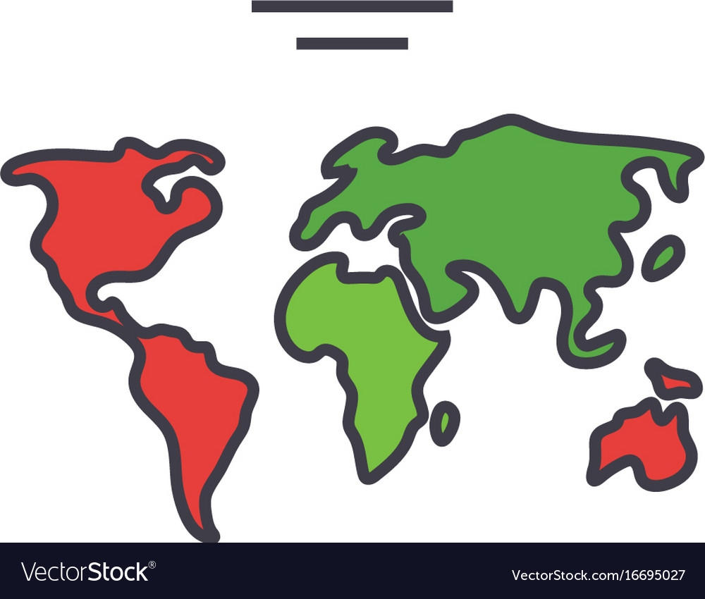 World map continents globe concept line vector image