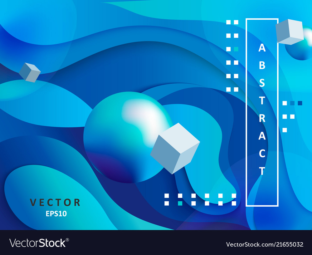 Abstract gradient background with balls and cubes