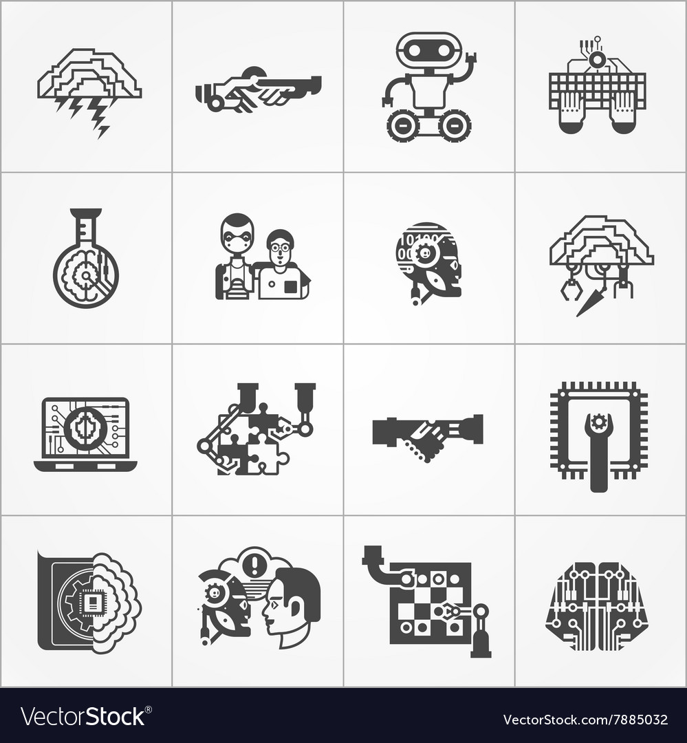Artificial Intelligence Black White Icons Set