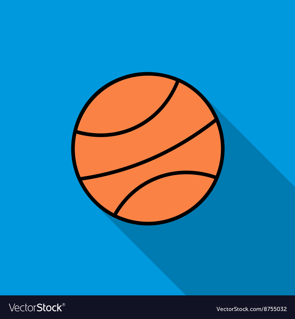 Basketball ball icon flat style