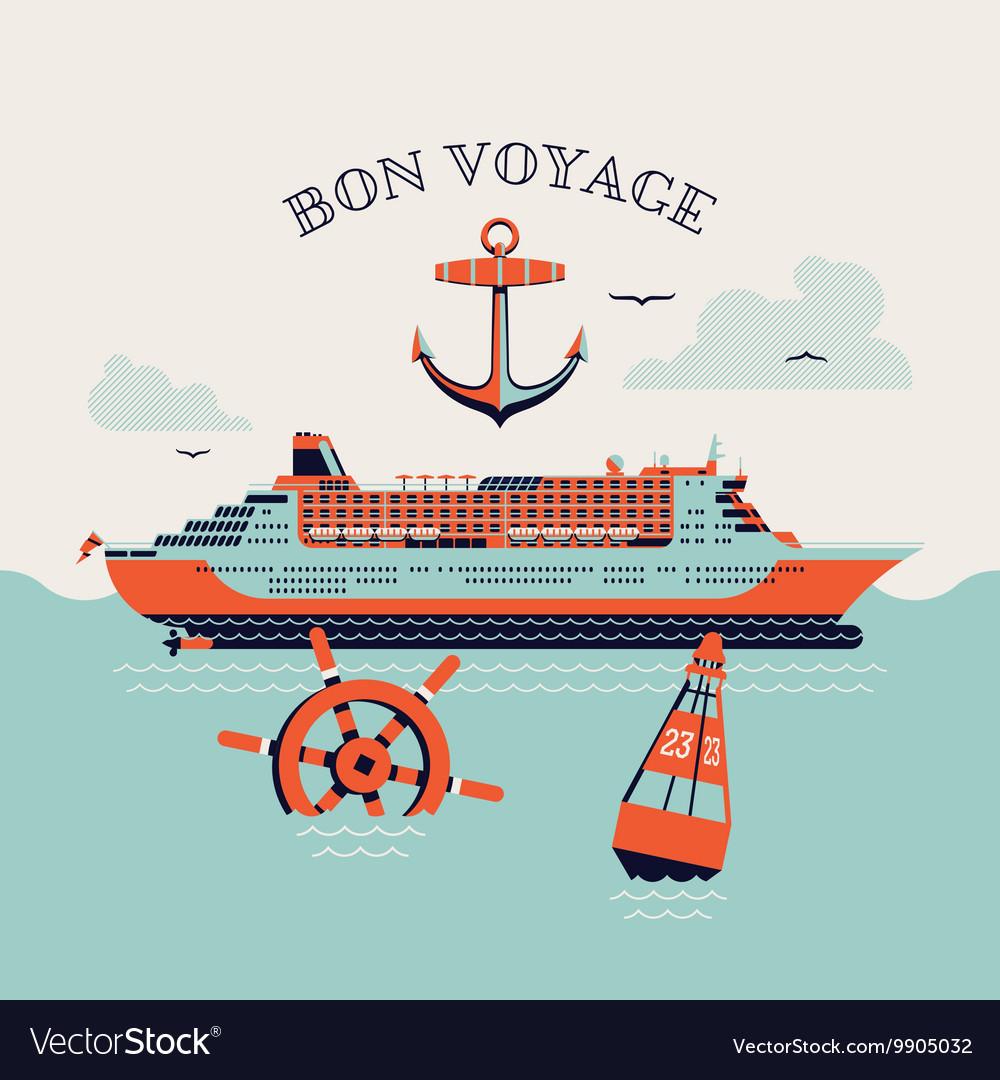bon voyage poster royalty free vector image vectorstock