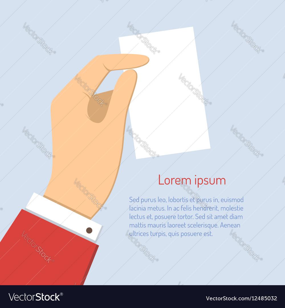 Business man holding vertical visit card vector image