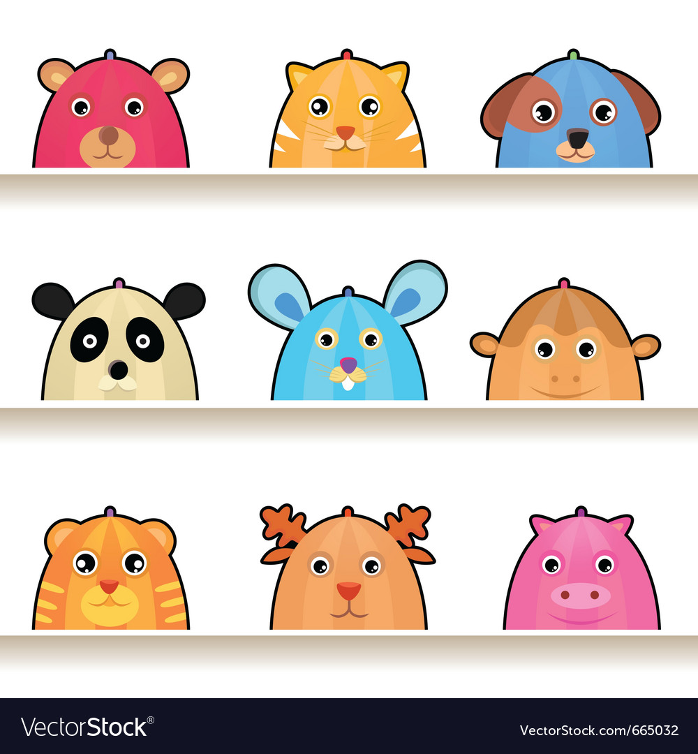 Cartoon animal characters vector image