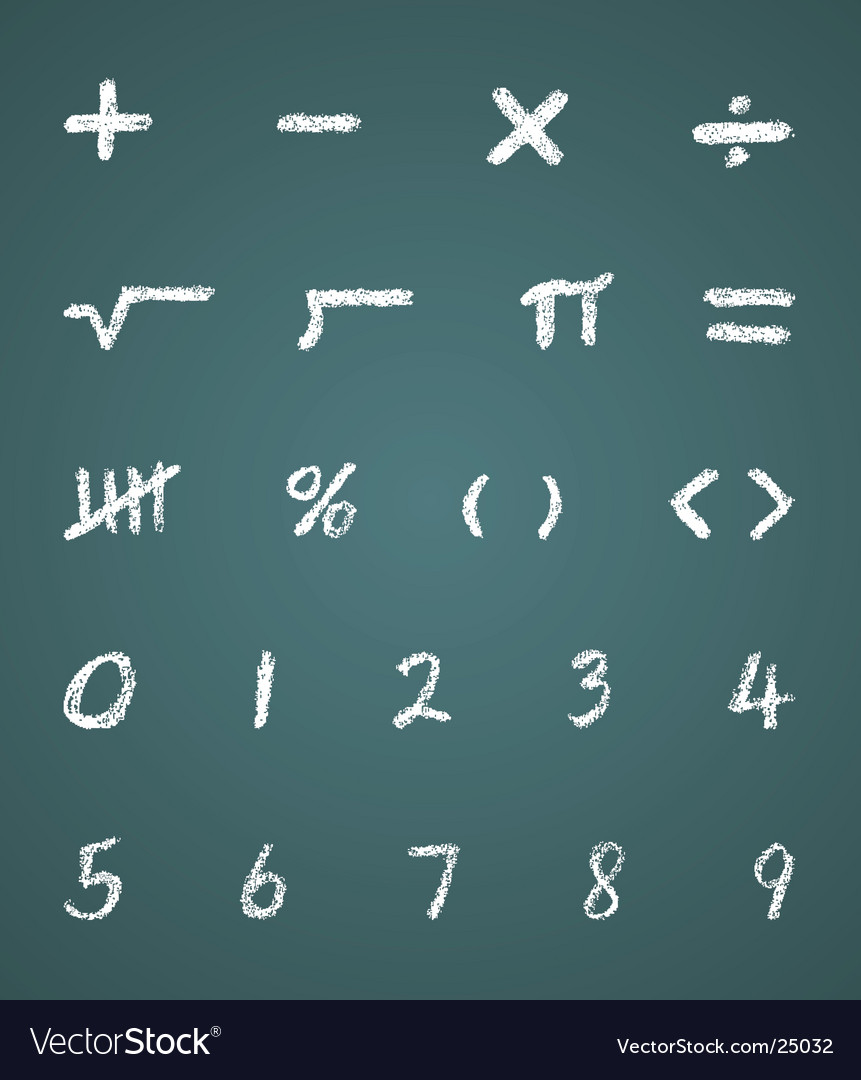 Chalk Math Symbols And Numbers Royalty Free Vector Image