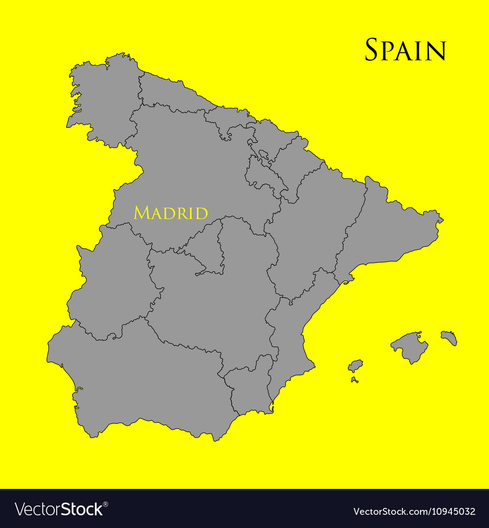 Elevation Map Of Spain.Contour Map Of Spain On A Yellow 01