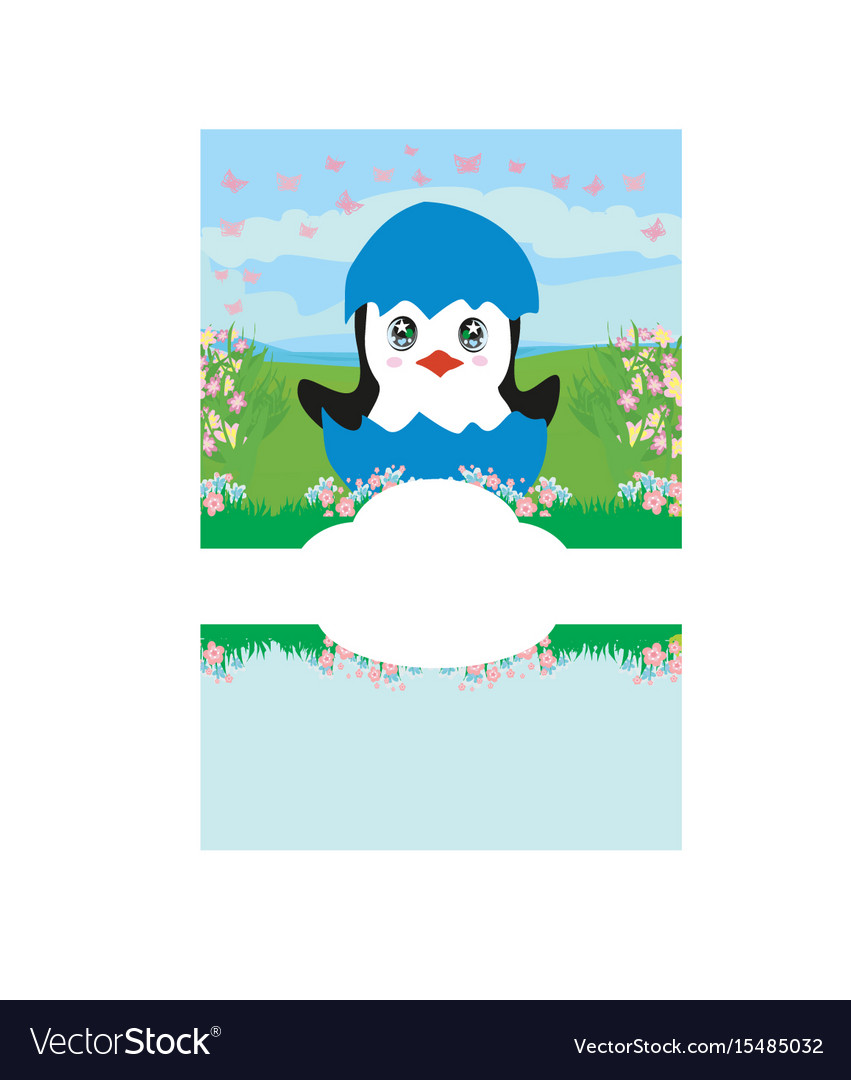 Cute penguin baby shower card vector image