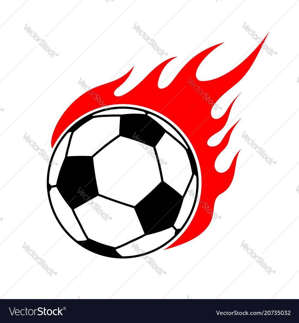 Fire soccer ball flame football emblem game sport vector image