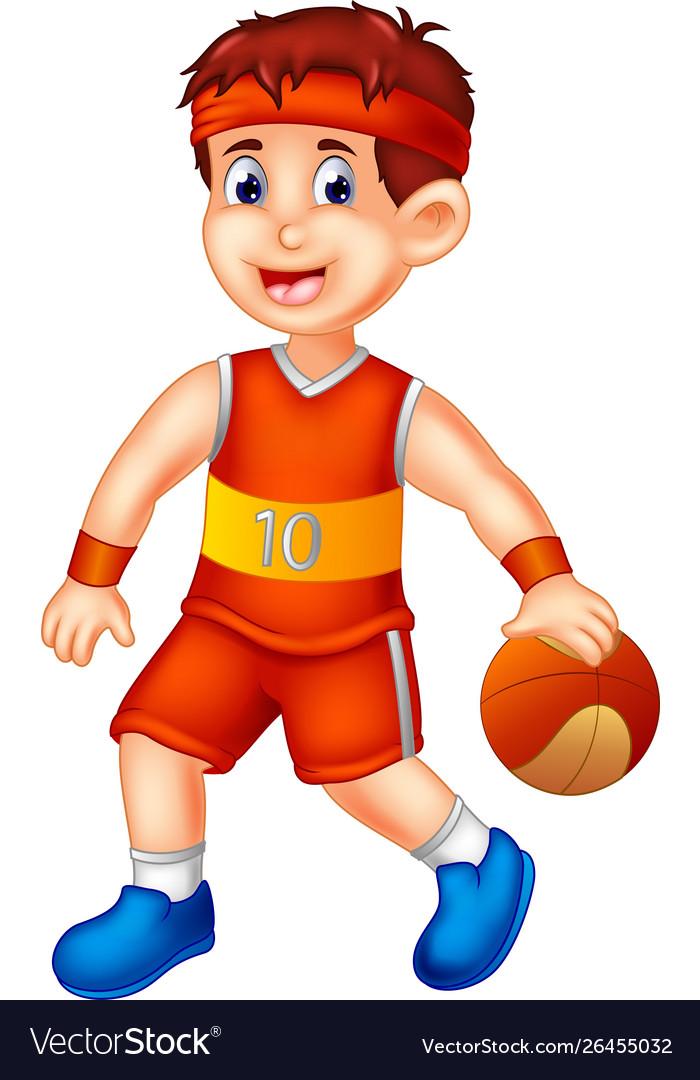 Funny Basketball Player Cartoon Royalty Free Vector Image