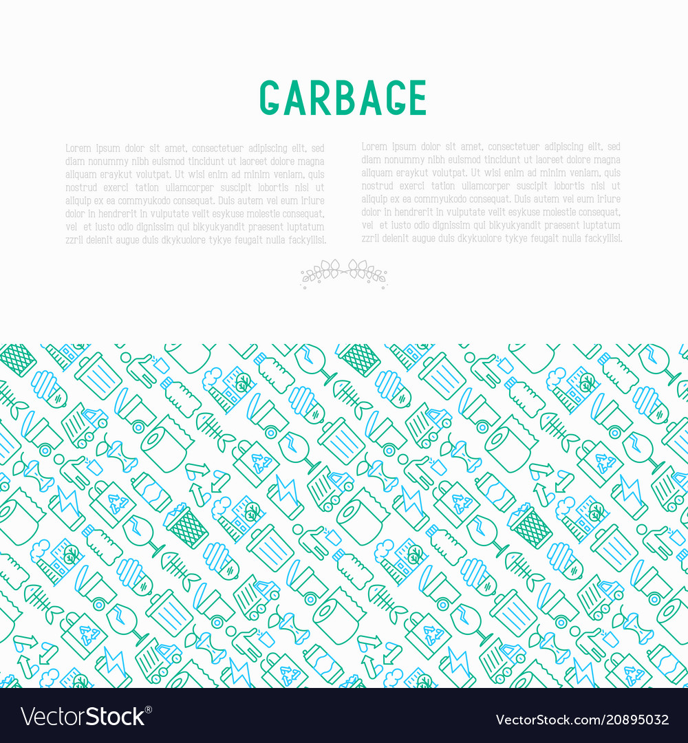 Garbage concept with thin line icons