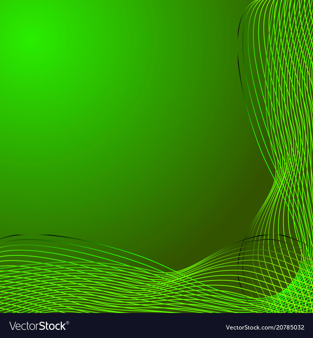 Greeting card of green lines made from smoke on a