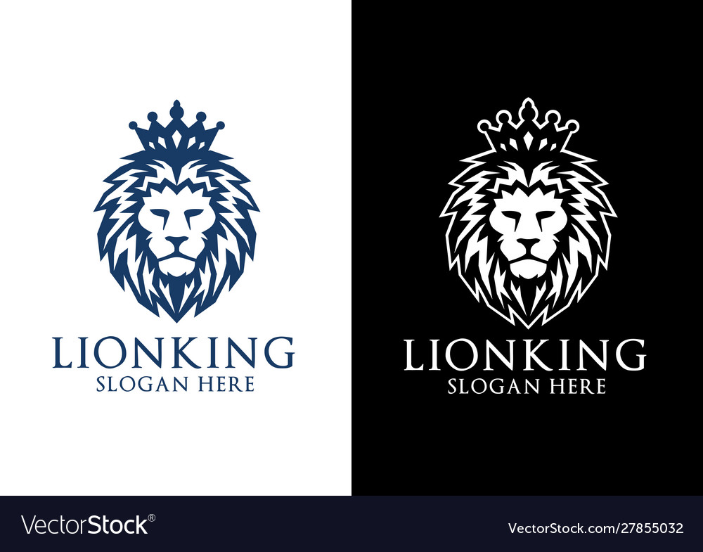 Lion king logo design with crown concept