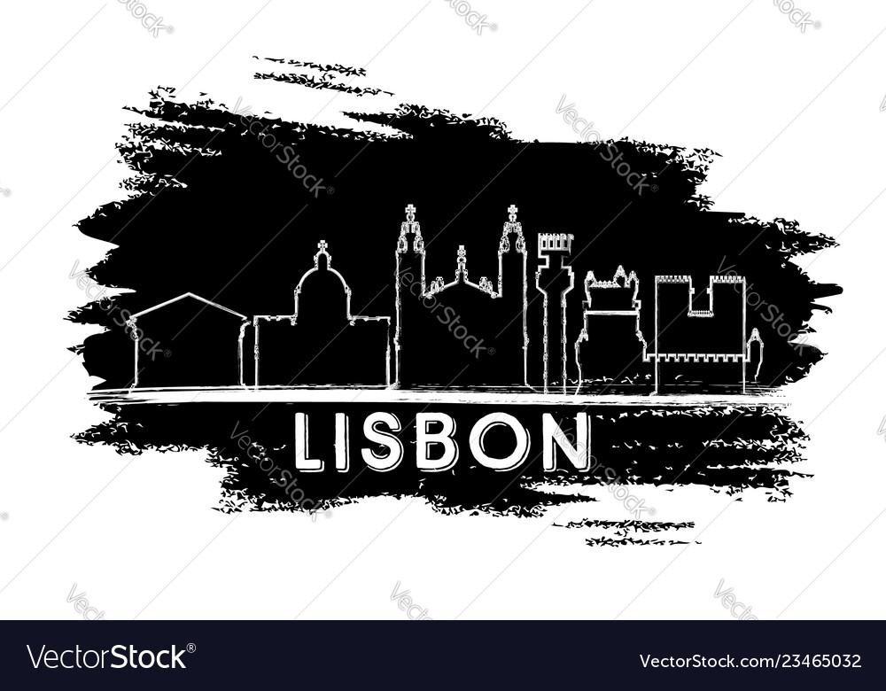 Lisbon portugal city skyline silhouette hand