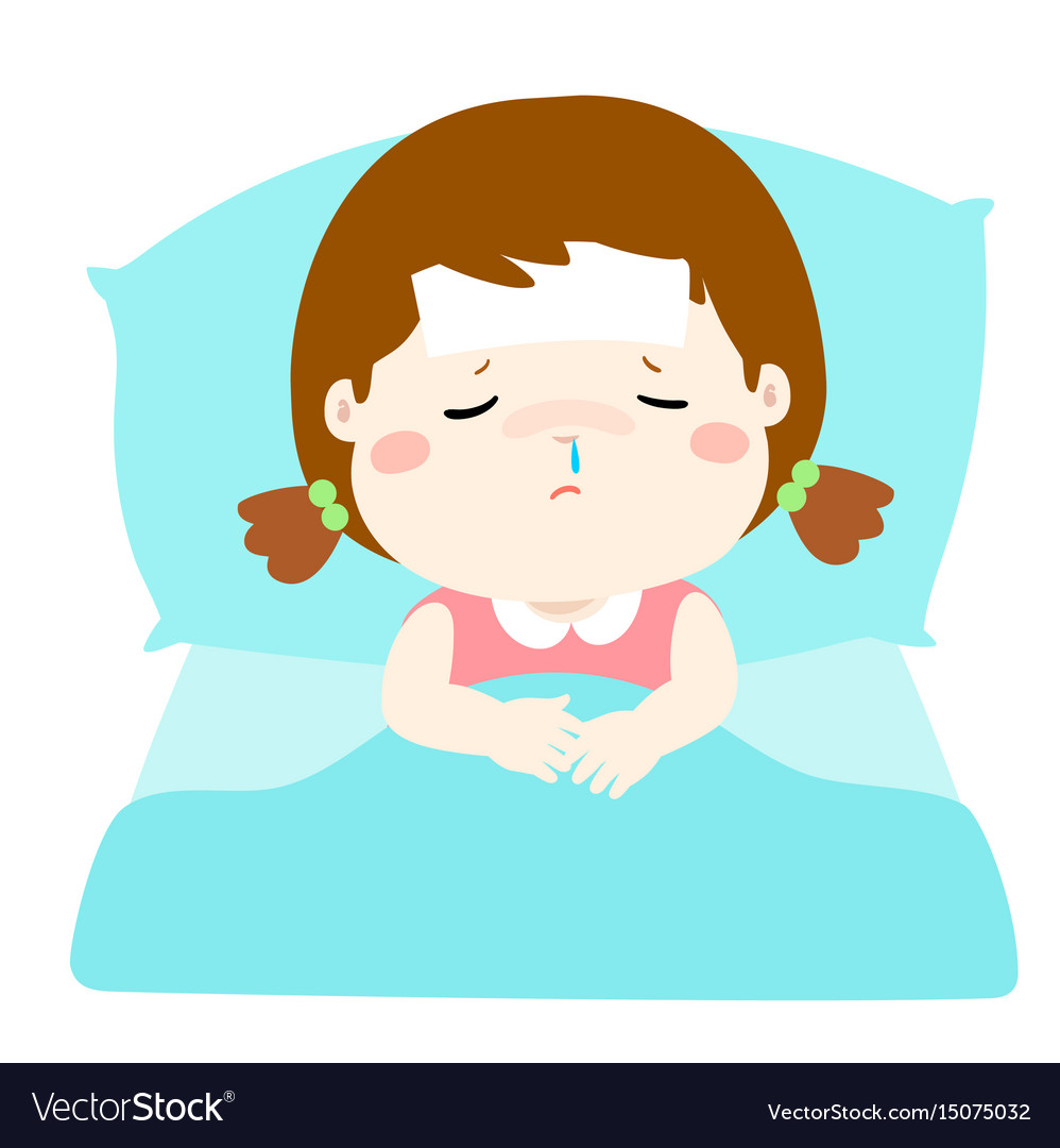 Little sick girl in bed cartoon royalty free vector image little sick girl in bed cartoon vector image thecheapjerseys Choice Image