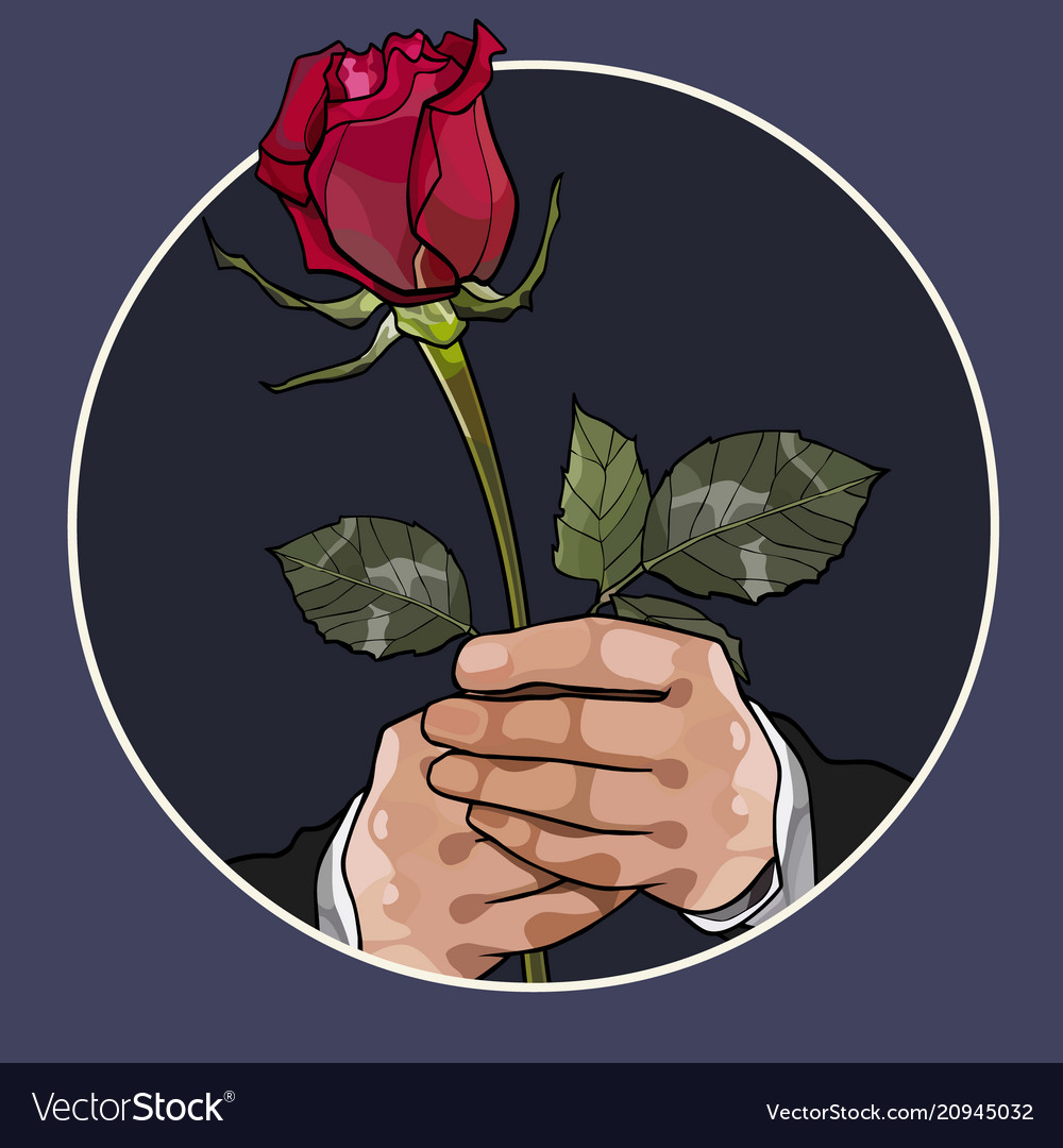 Painted red rose in the hands of a man